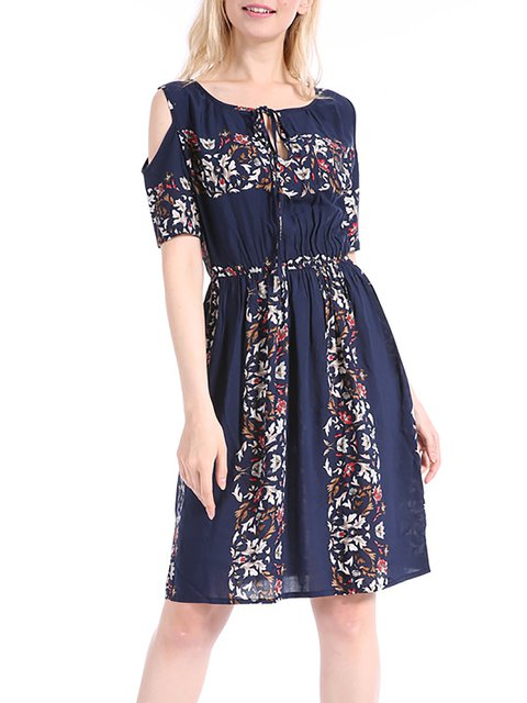 Women Daily Cold Shoulder Cotton-blend Floral Floral Dress