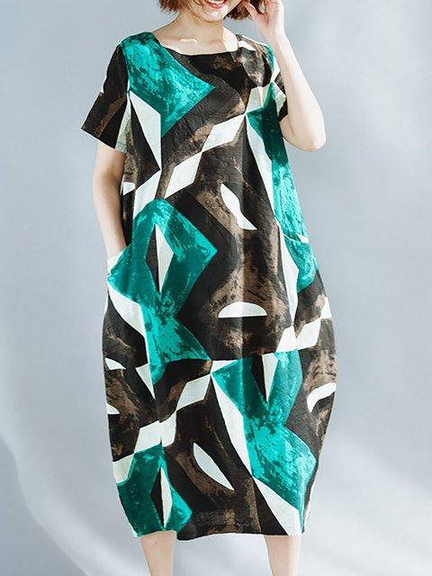 Green A-line Women Linen Short Sleeve Paneled Abstract Casual Dress