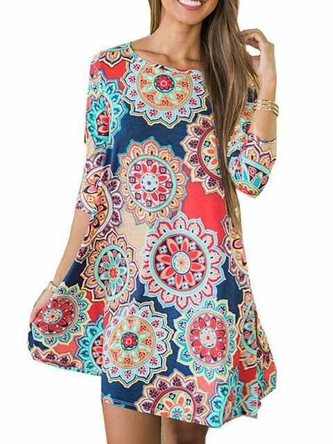 Women Cotton Half Sleeve Paneled Floral Floral Dress