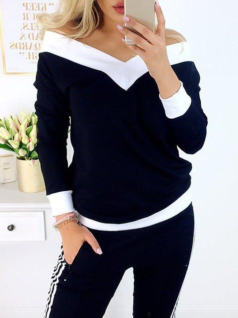 V Neck Casual Long Sleeve T-Shirt