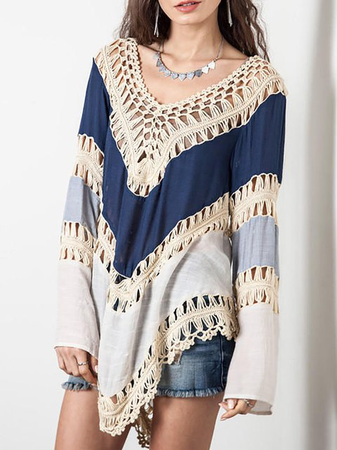 V neck Long Sleeve Stripes Kimono