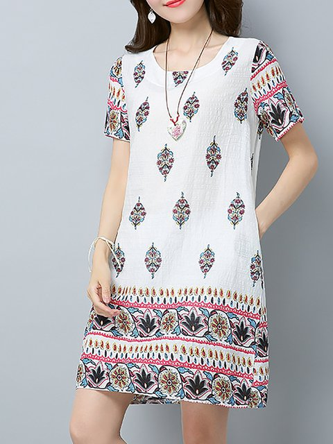 Women Daily Short Sleeve Cotton Paneled Casual Dress