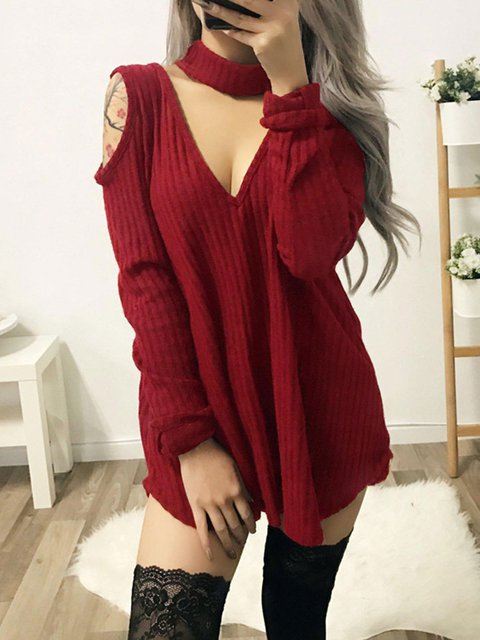 Women Daytime Velvet Sexy Cold Shoulder Solid Fall Dress