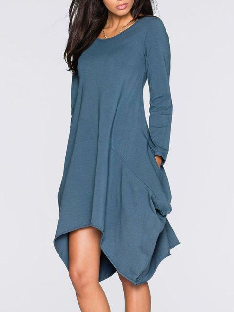 Asymmetrical Women Casual Long Sleeve Pockets Solid Fall Dress