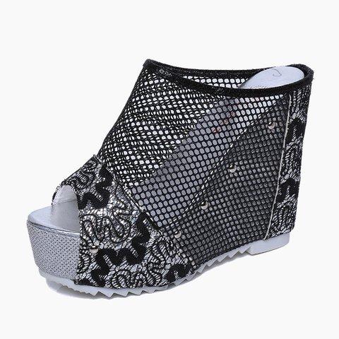 Mesh Paneled Wedge Heel Slippers Women Peep Toe Platform Shoes