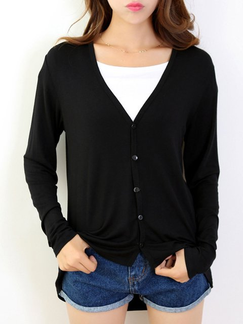 Casual Buttoned Long Sleeve Solid V neck Modal Cardigan