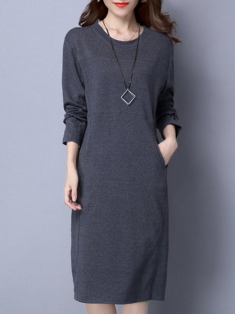 Women Daytime Casual Long Sleeve Pockets Solid Casual Dress