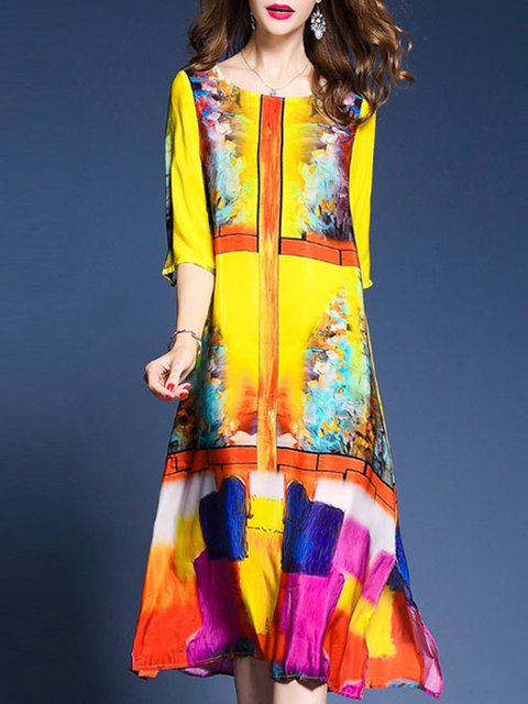 Yellow A-line Women Half Sleeve Casual Printed Abstract Elegant Dress
