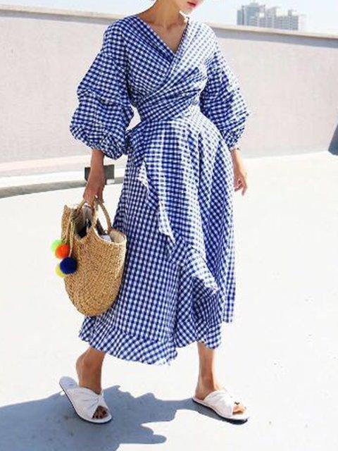 Surplice Neck Blue Women Daily Casual Balloon Sleeve Ruffled Checkered/Plaid Summer Dress