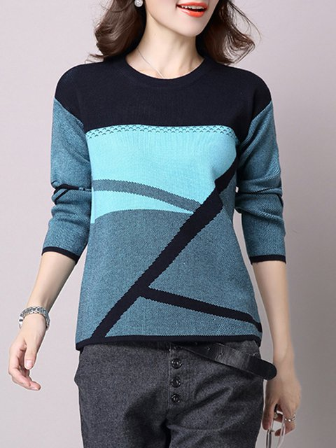 Clock-block Crew Neck Long Sleeve  Sweater