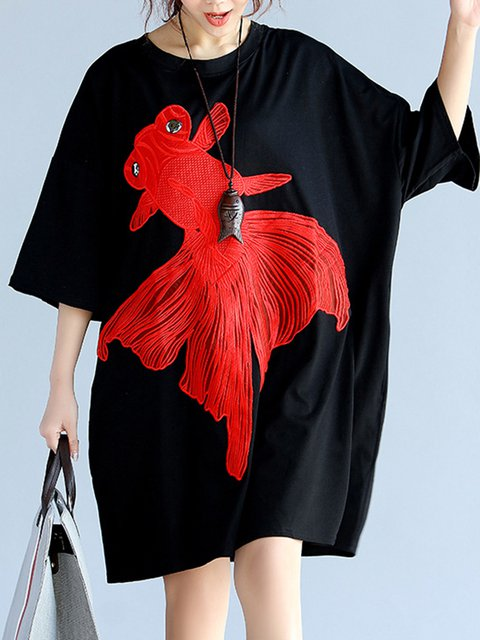 Black Shift Women Daily Casual Short Sleeve Embroidered Animal Casual Dress