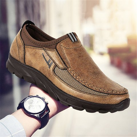 84dbd9f3cff Men Large Size Hand Stitching Microfiber Leather Non-slip Casual Shoes