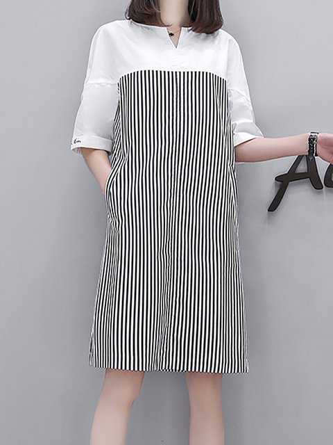 Black A-line Women Daytime Short Sleeve Paneled Striped Casual Dress