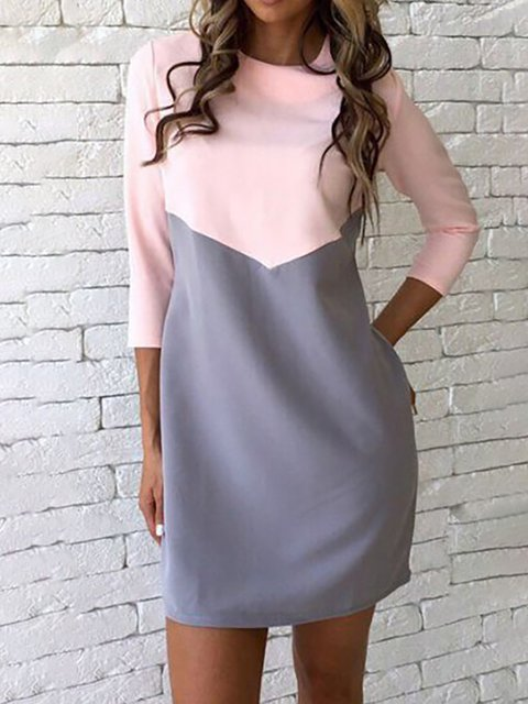 93b5845d83a4 JustFashionNow Women Casual Dress Crew Neck Daytime Dress 3/4 Sleeve Casual  Paneled Solid Dress