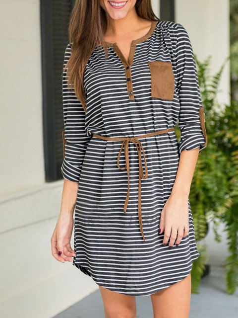 V neck White-black A-line Women Daytime Casual Long Sleeve Asymmetric Striped Summer Dress