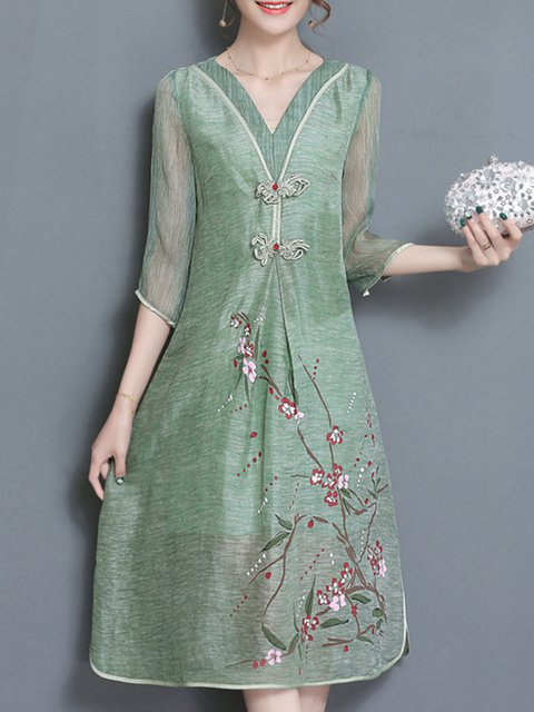V neck Lightgreen A-line Women Daytime Half Sleeve Vintage Floral-print  Elegant Dress