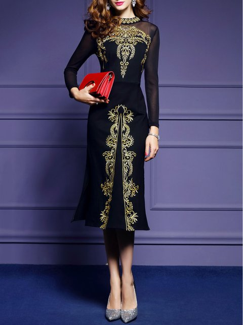 Navy Blue Sheath Women Party Elegant Long Sleeve Slit Floral Elegant Dress