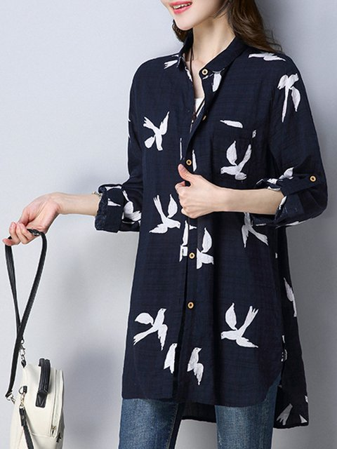 Navy Blue Printed Long Sleeve High Low Blouse