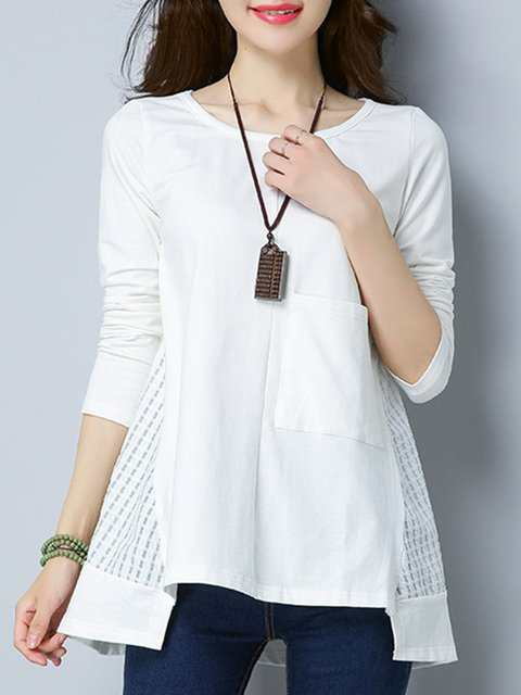 Long Sleeve Crew Neck Casual Paneled Shirts  Blouse