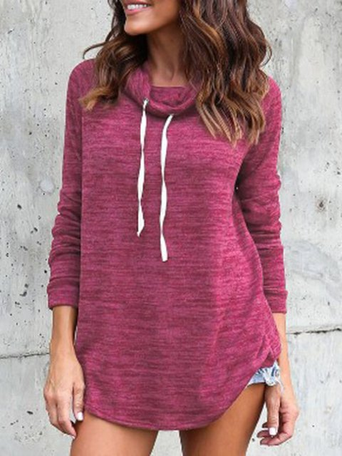 Long Sleeve Solid Cowl Neck Drawcord Tunic