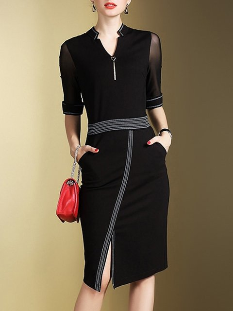 Women Paneled Half Elegant Work Stand Dress Sleeve Elegant Collar 1wxFR5CqnP