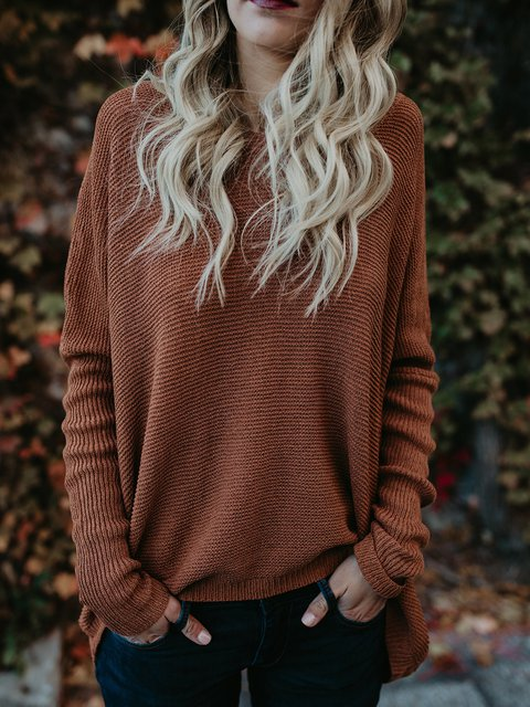Knitted Crew Neck Long Sleeve Sweater