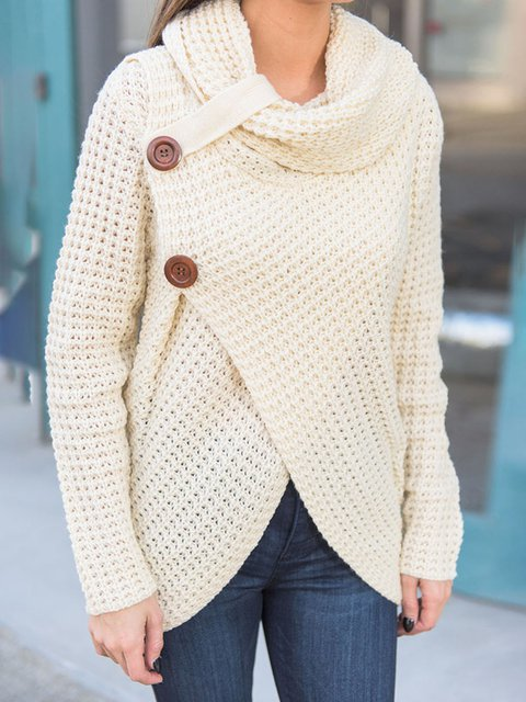 Sweater Cowl Neck Asymmetrical Knitted Buttoned 0qrRWYpwRI at ...