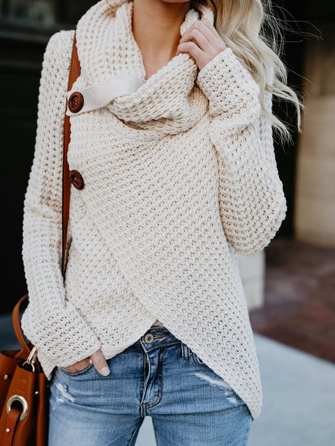 Cowl Neck Long Sleeve Knitted Asymmetrical Sweater - JustFashionNow.com