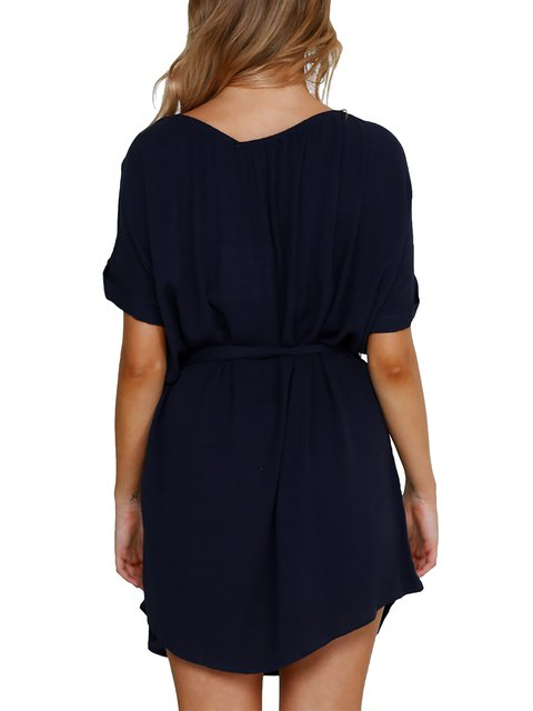 Paneled Summer A Women Daily blue Sleeve Half Deep Dress Elegant line TOqwRxFz8z