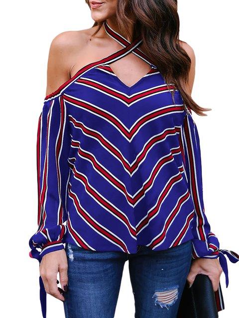 Long Sleeve Halter Backless T-Shirt