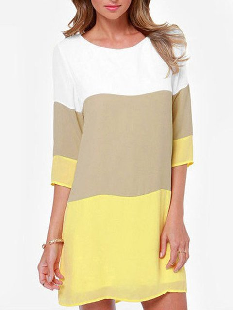 Shift Women Daytime Half Sleeve Elegant Paneled Summer Dress