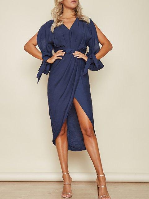 Women Summer Elegant V 3 Party Checkered Asymmetrical 4 neck Plaid Dress Sleeve HHgqES