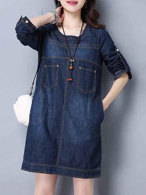 Blue A-line Women Daily Denim Casual Long Sleeve Pockets Plain Casual Dress
