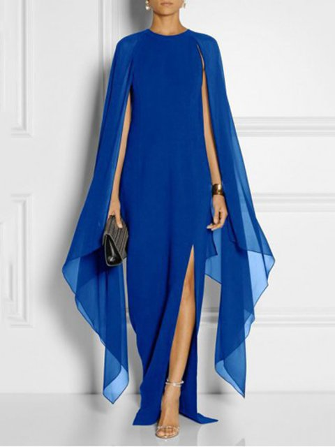Shift Women Party Evening Cape Sleeve Slit Prom Dress
