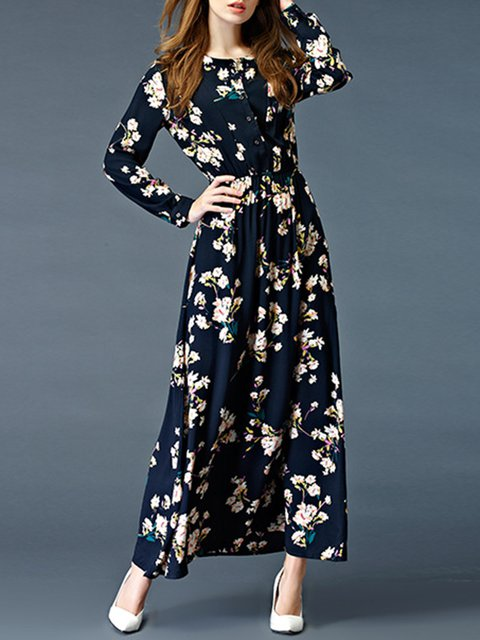 Swing Women Going out Long Sleeve Elegant Printed  Floral Dress