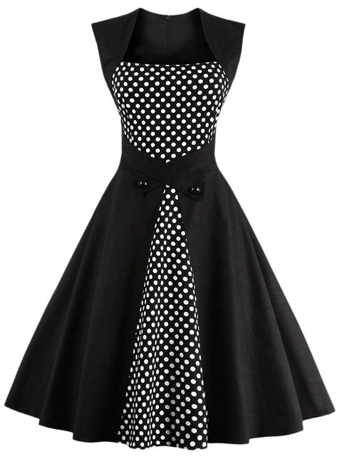 Black Swing Women Going out Sleeveless Elegant Paneled Polka Dots Elegant Dress