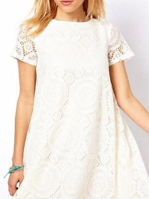 Women Elegant Short Sleeve Paneled  Summer Dress