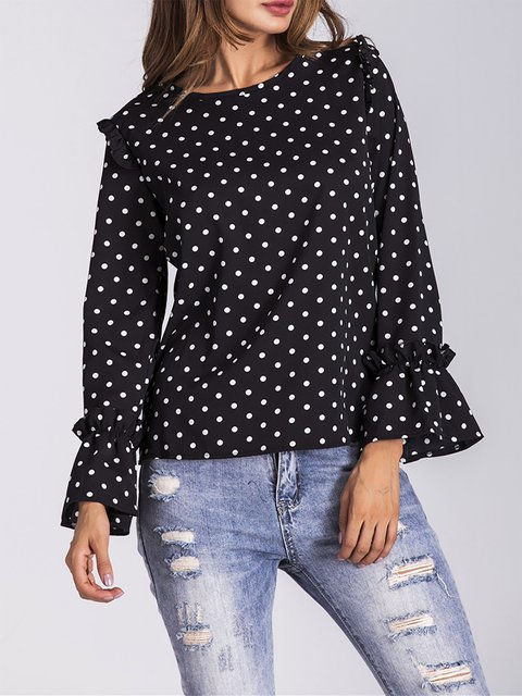 Black Ruffled Chiffon Polka Dots T-Shirt
