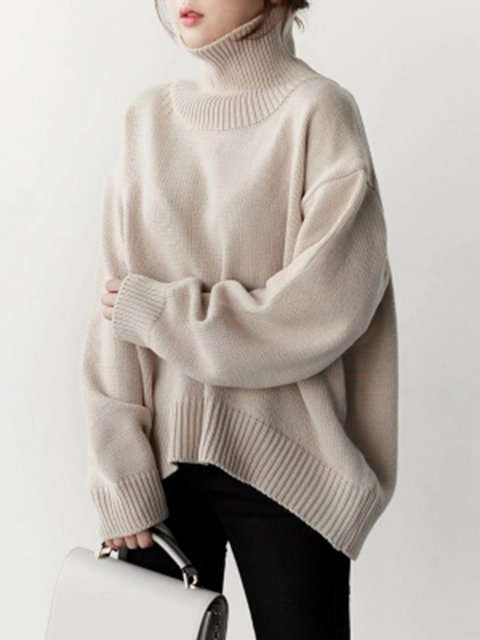 a8b0da36bb3 ... Sweater Turtle Knitted Casual Knitted Solid Shift Neck Winter qwRn0xz  ...