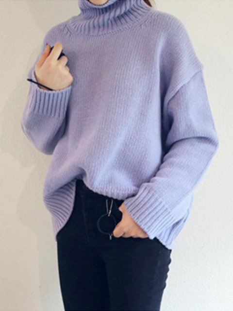 4af56166c93 Sweater Turtle Knitted Casual Knitted Solid Shift Neck Winter qwRn0xz ...