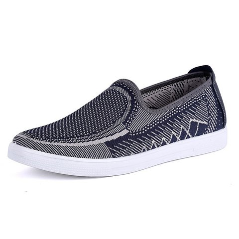 Men Knitted Fabric Breathable Flat Slip On Casual Shoes