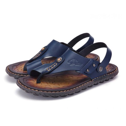 Men Two Way Wearing Clip Toe Slippers Comfortable Casual Beach Sandals
