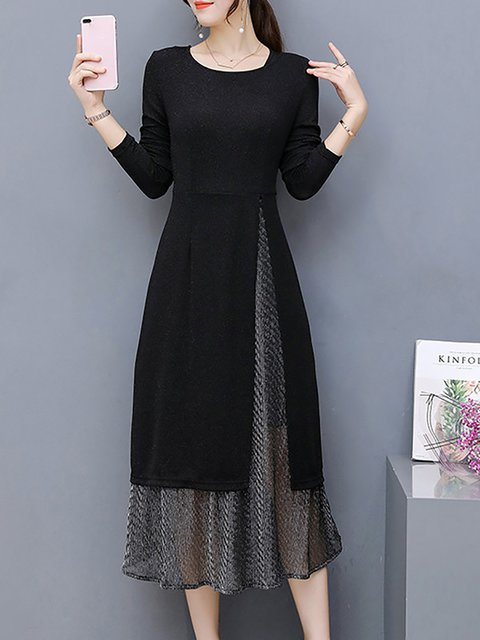 Black Two Piece Women Cotton-blend Long Sleeve  Elegant Dress