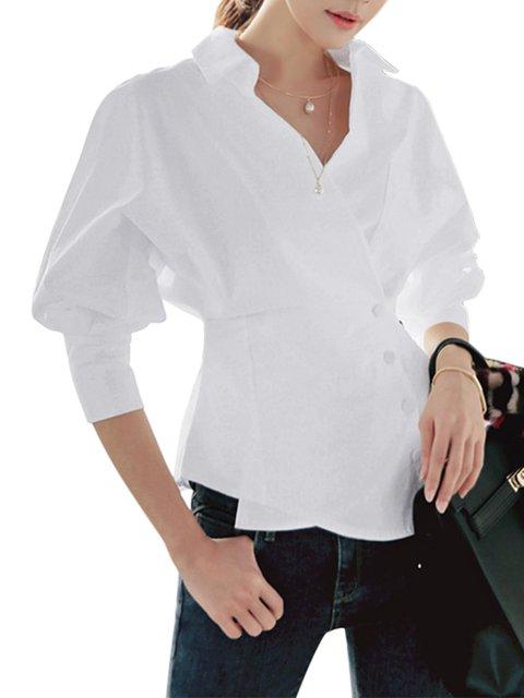 Cotton-blend Balloon Sleeve Shirt Collar Shirts  Blouse