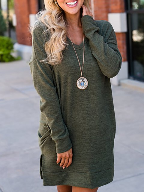 Army green Shift Women Daily Basic Long Sleeve Paneled Solid Casual Dress