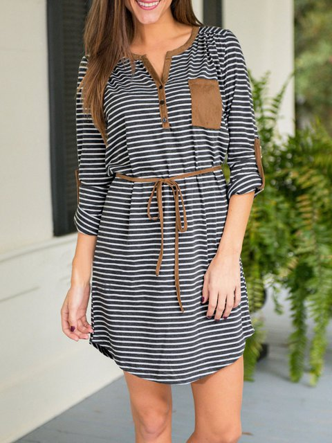 Daily Paneled Deep Striped Women Sleeve Statement neck blue Dress Casual V Long xOH7Uaq