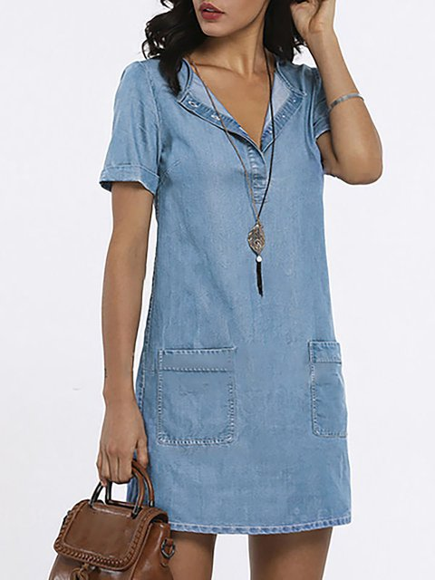 V Neck Women Summer Dresses Daily Basic Denim Dresses