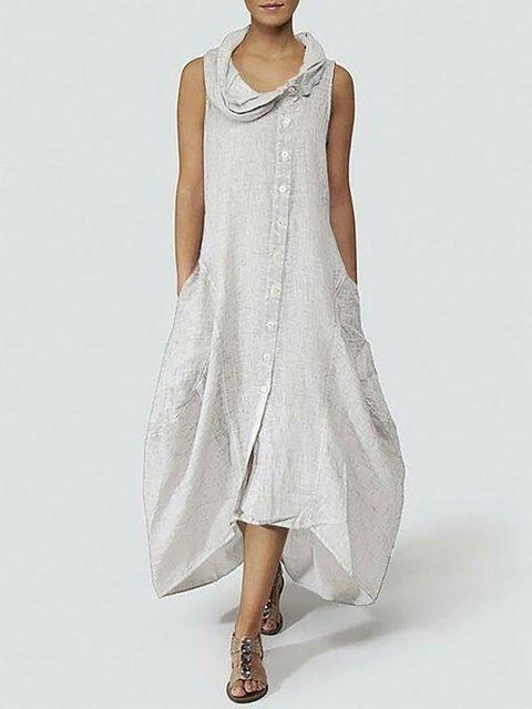 Solid Women Daily Neck Basic Dress Summer Sleeveless Cowl X8nxwq57X