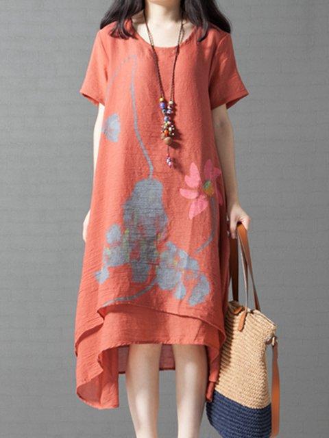 Asymmetrical Women Short Sleeve Printed Floral Casual Dress