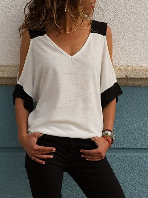 White Casual Cotton Cold Shoulder Outerwear